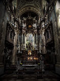 Interior of St. Peter's Church, Vienna, Austria in dark tone Stock Photos