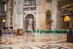 Interior of the St. Peters Basilica in Rome Stock Image