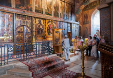 Interior of the St. Sophia Cathedral in Veliky Novgorod stock images