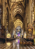 Interior St. Stephen's Cathedral(Stephansdom) the mother church of the Roman Catholic Archdiocese of Vienna. Stock Photos