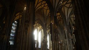 Interior St. Stephen`s Cathedral in Vienna stock images