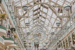 Interior of the St stephen`s green shopping centre in Dublin cit. DUBLIN, IRELAND - April 12th, 2018: interior of the St stephen`s green shopping centre in Royalty Free Stock Photo