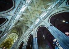 PRAGUE, CZECH REPUBLIC - SEPTEMBER 4, 2017. Interior of the St. Vitus cathedral in Prague Castle, Prague, Czech Republic. Interior of the St. Vitus cathedral in Stock Photos