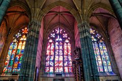 Interior of St.Vitus Cathedral in Prague, Czech Republic royalty free stock photo
