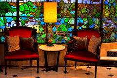 Interior with stained glass. Multicolored Stock Photography