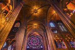 Interior Stained Glass Notre Dame Cathedral Paris France Royalty Free Stock Photography