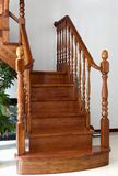 Interior stairs. Interior wooden stairs with Wood handrails royalty free stock photos