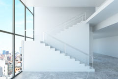 Interior with stairs and city view Royalty Free Stock Photo