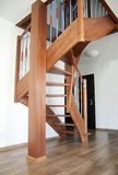 Interior stairs wooden. Wooden interior stairs in loft room stock photo