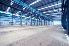 Interior of steel structure workshop Royalty Free Stock Photos