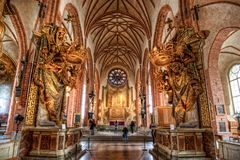 Interior of Stockholm Cathedral. Main hallway of the Stockholm Cathedral, in the old town Gamla Stan Stock Images
