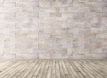Interior with stone tiles wall and wooden floor 3d render Stock Photo
