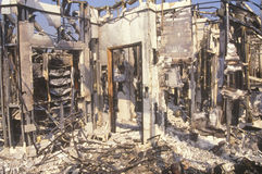 Interior of store burned out during 1992 riots, South Central Los Angeles, California Royalty Free Stock Photos