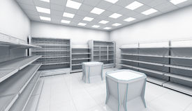 Interior of the store with empty shelves Royalty Free Stock Photo