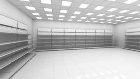 Interior of the store with empty shelves Royalty Free Stock Image