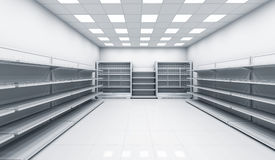 Interior of the store with empty shelves Royalty Free Stock Photography