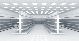 Interior of the store with empty shelves Stock Image