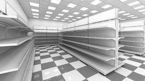 Interior of the store with empty shelves Stock Photos