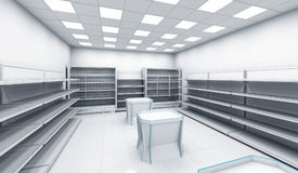 Interior of the store with empty shelves Stock Photography