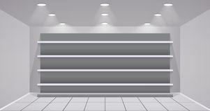 Interior store with empty shelves Royalty Free Stock Photo