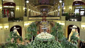 Interior store GUM main department store, Red Square, Moscow, Russia stock video
