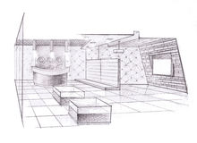 The interior of the store. Hand drawn sketch interior design Stock Photo