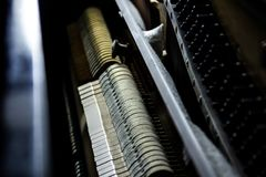 Interior structure of piano with lighting effect, selective focus stock photo