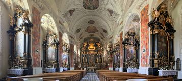 The interior of the stunning Sankt Laurentius Stiftskirche royalty free stock photos