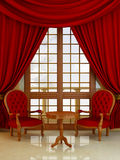 Interior - Style Classic sitting room. Interior - Style classic for red elegant sitting room Royalty Free Stock Images