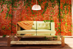 Interior style loft with decorations of ivy. 3d illustration Stock Photos