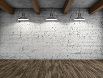 Interior style loft. With lamps and brick wall. 3D illustration Royalty Free Stock Photos