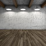 Interior style loft. With lamps and brick wall. 3D illustration Royalty Free Stock Image