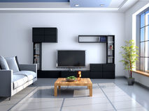 The interior in style of minimalism. Wall with TV. 3d illustration Royalty Free Stock Photos