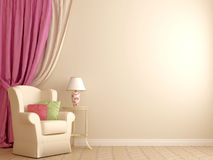 Armchair by the pink curtains. The interior in the style of Provence. Against the background of beige walls are located an armchair with a white decorative table Royalty Free Stock Photo