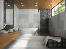 Interior of  stylish bathroom with grey walls Stock Images