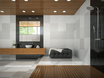 Interior of  stylish bathroom with wooden ceiling Stock Photography