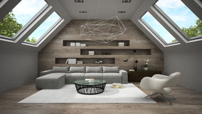 Interior of stylish mansard room 3D rendering 2. Interior of  stylish mansard room 3D rendering 2 Stock Images