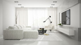 Interior of stylish modern room  with white sofa 3D rendering Stock Photos