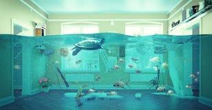 Interior subacuático de la inundación Fotos de archivo libres de regalías