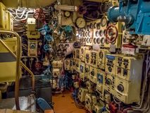 Kaliningrad, Russia - January, 2018. The interior of the submarine compartment with control devices. The interior of the submarine compartment with control stock image