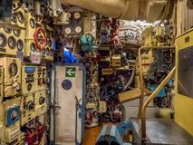 Kaliningrad, Russia - January, 2018. Museum Submarine B-413. The interior of the submarine compartment with control devices royalty free stock images