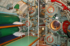 The interior of the submarine, torpedo tubes Royalty Free Stock Images