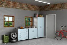 The interior suburban garage. With car parts Royalty Free Stock Photos
