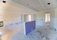 Interior of a Suburban home being heavily remodeled. Interior of a Suburban Home being dry walled and remodeled outside Memphis Tennessee in a new subdivision Royalty Free Stock Photo