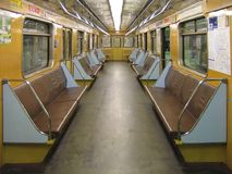 Interior of a subway car. Interior of a classic subway car Stock Image
