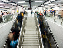 Interior of a subway station. Passenger in the subway station in shanghai china, blurred motion Stock Photo
