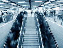 Interior of a subway station. Passenger in the subway station in shanghai china, blurred motion Stock Photos