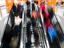 Interior of a subway station. Passenger in the subway station in shanghai china, blurred motion Royalty Free Stock Photos