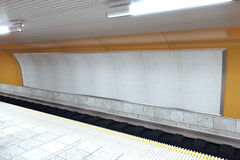 Interior subway station with blank billboard Stock Photography