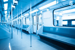 Interior of subway train Royalty Free Stock Photography